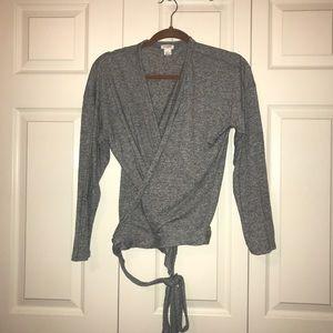 J. Crew tie waist wrap sweater